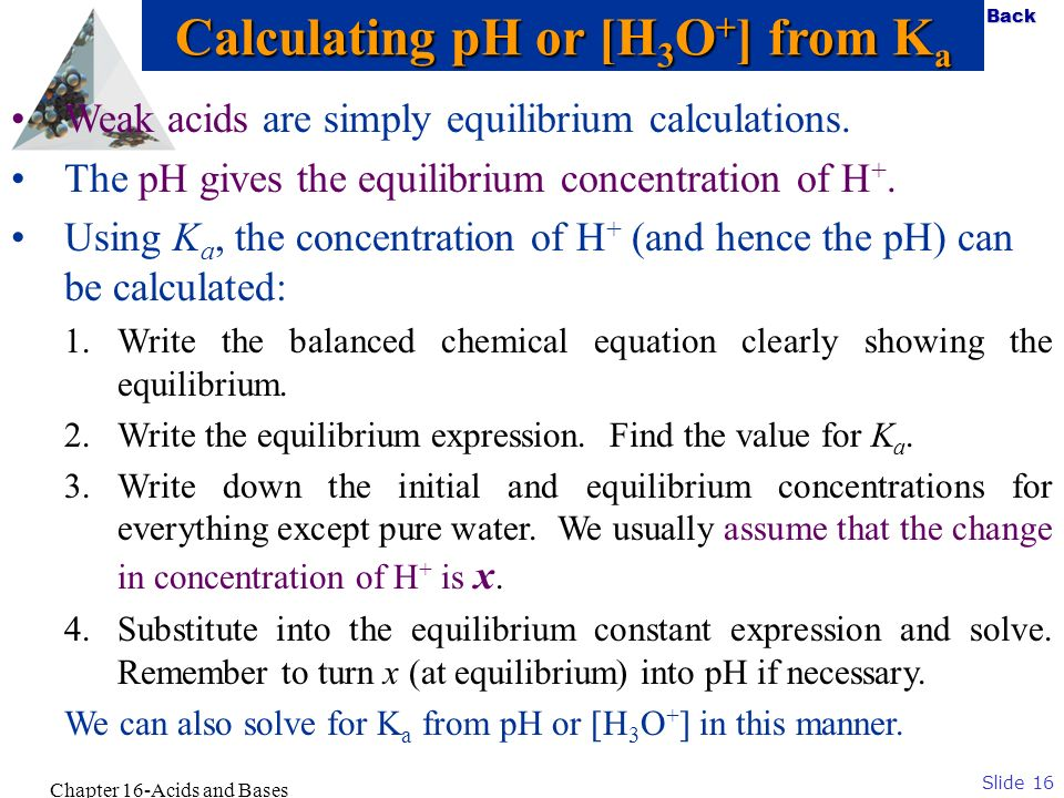 Calculating pH or [H3O+] from Ka